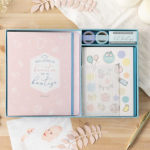 KIT SCRAPBOOKING PARA ÁLBUM DE BAUTIZO MR. WONDERFUL - ROSA